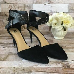 Joe's Black Suede Heels Ankle Strap/Zipper sz. 8.5